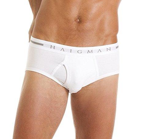 Haigman Slip en Coton Élastique Lot de 3 sous-Vêtements Homme (Blanc) S