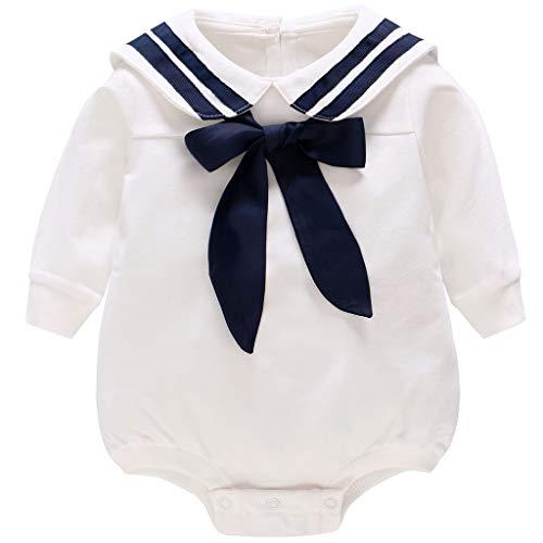 Baby Spieler Langarm Body Marine Strampler Mädchen Jungen Baumwolle Krawatte Outfits 12-18 - Marine Matrosen Kostüm Strampler