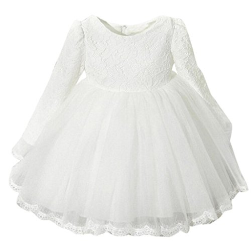 bobo4818 Tüll Festzug Partykleid Taufkleid Short Prinzessin Kleid MäDchen (Weiß, 80)