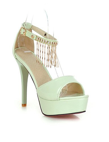 UWSZZ IL Sandali eleganti comfort Scarpe Donna-Sandali-Matrimonio / Formale / Serata e festa-Spuntate / Plateau-A stiletto-Vernice-Nero / Verde / Rosa / Bianco / Beige White
