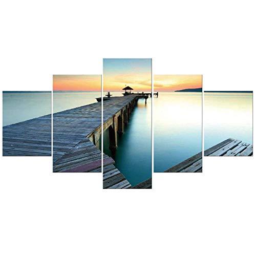 Dekor, Gerahmte Kunst (5 Stücke Malerei Leinwand Sonnenaufgang Auf Meer Brücke Moderne Wandbilder Schöne Lanscape Kunst Für Wohnzimmer Dekor Gerahmt - 30x40cmx2 30x60cmx2 30x80cmx1)