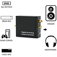 hangang Converter Convertidor de digital a analógico DAC Digital SPDIF Toslink ad analógica estéreo Audio L/R adaptador convertidor con cable óptico para PS3Xbox HD DVD PS4sistemas Home Cinema Amplificadores AV Apple TV