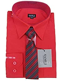 53e4b25e9c660f Samli Boys Shirt and Tie Set Long Sleeved Formal Smart Casual Red Shirt 1Y  to 15Y