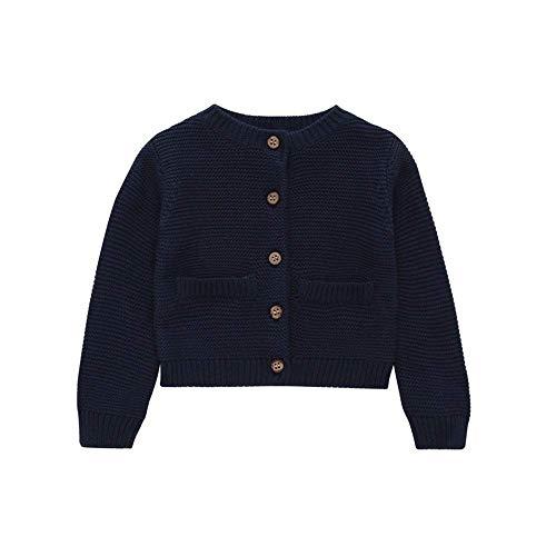 Bobopai Baby Cardigan Jacket Girl Boy for 6Months-3Years Old Autumn Winter Warm Solid Color Sweater Coat Kids Children Button Outwear (Dark Blue) -