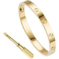 18K Gold Plated Screw Design Bangle Bracelet for Lover ID Size:57mm*46mm (Yellow Gold)