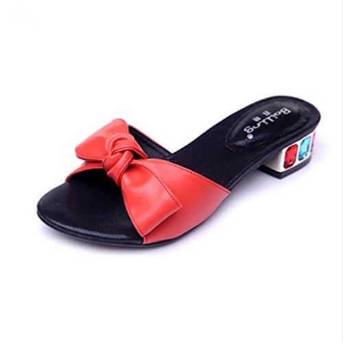 Bailing Senhoras Chinelos De Verão / Meados De Calcanhar Dedo Aberto Doce Bowknot Tamanho Pequeno Sapatos Sandália Feminina Vermelhas