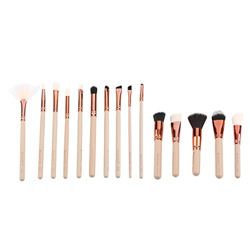 Ulable 15 pcs/lot Personnel Or rose Tube Lot de pinceaux de maquillage Fond de teint Brosse Cosmétique