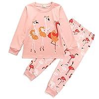 Tarkis Girls Cotton Pyjamas Set Flamigo Pattern Nightwear Sleepwear Long Sleeve Pjs Outfit 1-7 Y