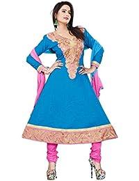 Jheenu Women's Sky Blue Cotton anarkali Embroidered Unstitched Dress Material