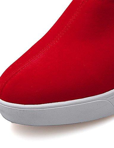 ZQ Scarpe Donna - Ballerine / Mocassini - Ufficio e lavoro / Formale / Casual - Punta arrotondata - Piatto - Finta pelle - Nero / Rosso , red-us8 / eu39 / uk6 / cn39 , red-us8 / eu39 / uk6 / cn39 red-us6 / eu36 / uk4 / cn36