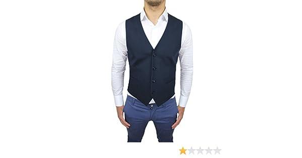 FB CLASS Panciotto Gilet uomo sartoriale blu scuro casual elegante 100% Made in Italy taglia da XS a 5XL
