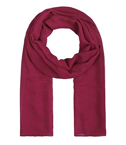 Majea Tuch Lima schmal geschnittenes Damen-Halstuch leicht uni einfarbig dünn unifarben Schal weich Sommerschal Übergangsschal (cherry)