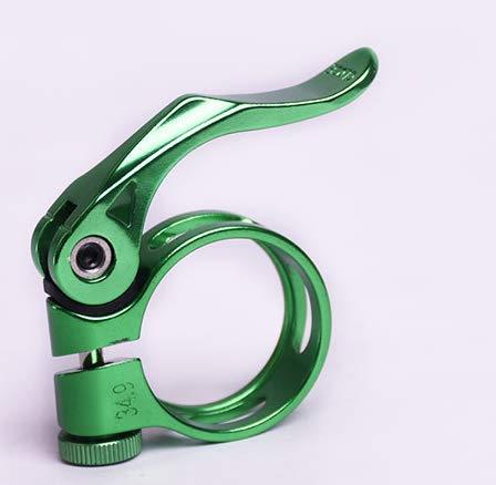 CarbonEnmy Alu Fahrrad Sattelklemme mit Schnellspanner Saddle clamp 34,9 mm leicht (Gruen)