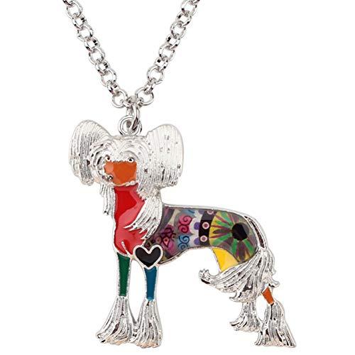 AISHIPING Emaille Legierung Chinese Crested Dog Halskette Kette Choker Anhänger Neuheit Tier Schmuck -