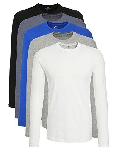 Lower east t-shirt a maniche lunghe uomo, pacco da 5, mehrfarbig (weiß/schwarz/blau/grau/rauchblau), x-large