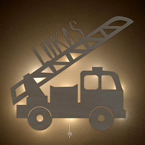 Nachtlicht Schlummerleuchte Lars das Löschfahrzeug Schlummer-Licht individuell mit Kinder-Namen konfigurierbar Farbe & Ausstattung anpassbar Original Design von hellomini