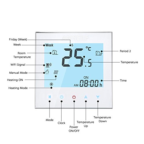Anself WIFI Intelligenter Raumthermostat Elektroheizung Programmierbarer Temperaturregler mit LCD Touchscreen - 3