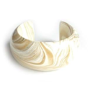 Idin Doré Bracelet jonc–Effet Marbre Blanc Crème avec veines. Fabriqué à la main en bois de mangue en bois.