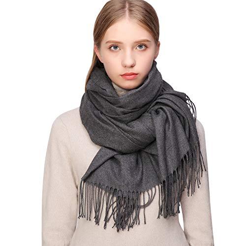 Riiqiichy sciarpa donna cashmere invernale per donna e uomo, scialle donna alla moda,foulard donna stole elegante sciarpa calda e morbida lungo grigio
