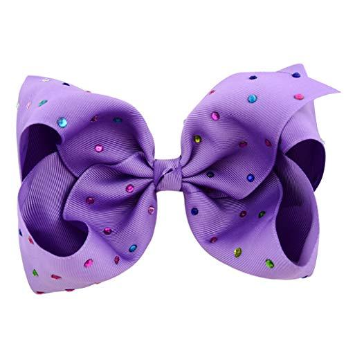 VIccoo Haarklammer, 12 Farben 8 Zoll Mädchen Haarspange Helle Candy Farbe Große Ripsband Bowknot Entenschnabel Haarnadel Farbige Strass Haarspangen - 5# (Ball Schuhe Masquerade)