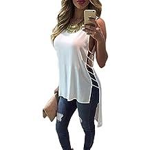 Tongshi Camisa sin mangas para mujer ocasional de la gasa del chaleco de la blusa de las tapas del tanque de la camiseta