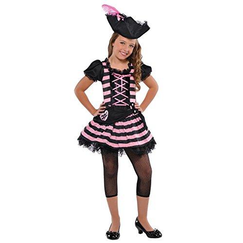 (Mädchen Pink Sweetheart Piraten Kostüm + Mütze Mädchen Halloween Buch Woche Outfit Buccaneer Kinder Kleinkind Kinder)
