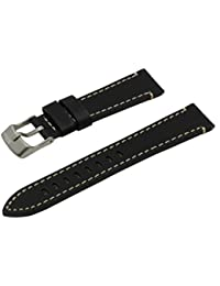 SWISS REIMAGINED Black Hypoallergenic Tanned Calfskin Leather Watch Band with Titanium Buckle - 20mm