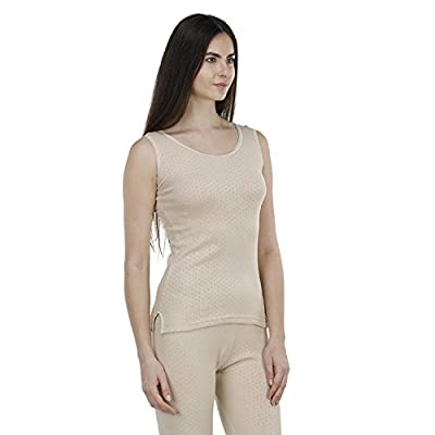 Bonjour Women's Poly Cotton Thermal Slip (Medium, Beige)