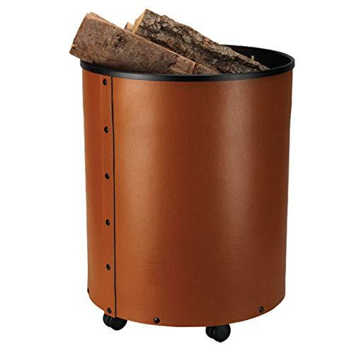 HARK Holzkorb mit Rollen Leder braun