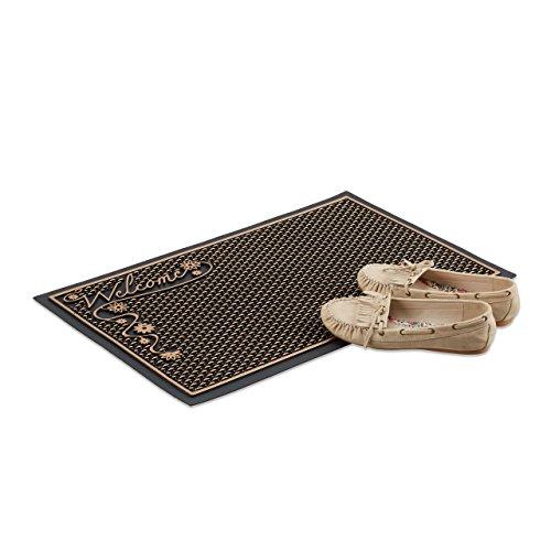 Relaxdays Fußmatte Welcome, Fußabtreter Außenbereich, Türmatte schwarz, Fußabstreifer Motiv, 40 x 60 cm, schwarz-gold