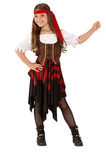 Karneval-Klamotten Piraten-Kostüm Piratin Kinder Mädchen Piratenbraut Kinderkostüm schwarz-rot-weiß-braun inkl. Piraten-Säbel Größe 140