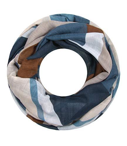 Majea Damen Loop Schal viele Farben tolle Muster Schlauchschal Halstücher (blau 10) -