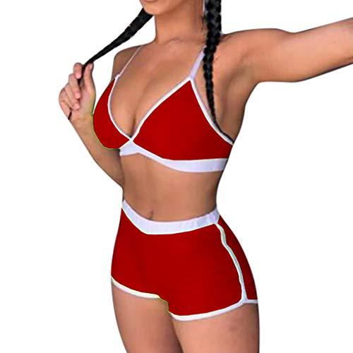 SCHOLIEBEN Sport Bikini High Waist Damen Set Push Up Sexy Bandeau BH Triangle Thong Bustier Badeanzug Bademode Teenager Mädchen Grosse Grössen -