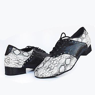 Scarpe da ballo-Personalizzabile-Da uomo-Balli latino-americani Jazz Danza moderna Scarpe da swing-Quadrato-Di pelle Finta pelle-Nero black-white