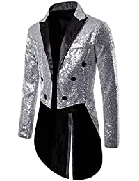 MoneRffi Mens Dance Military Sequins Sparkle Court Style Club Fitted Blazer Jacket Performances Top