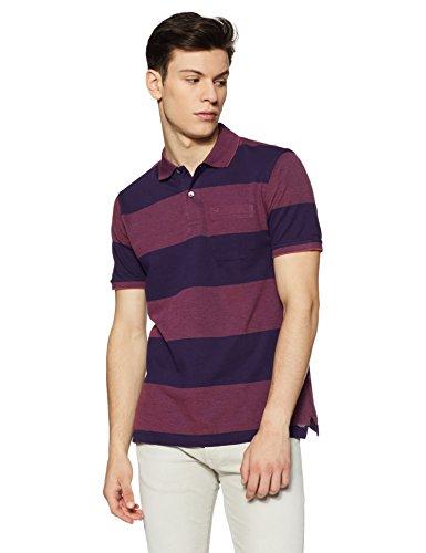 Peter England Men's Plain Regular Fit T-Shirt (PKW51709693XXL_DarkPurpleWithRed_XX-Large)