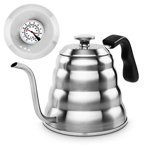 """""""SteelKettle"""" Handbrüh-Wasserkessel aus Edelstahl für perfekten Tee oder Kaffee (Kaffeekessel) durch Thermometer, für Gas und Ceranfeld geeignet, 1,2 l + gratis Edelstahl-Löffel Kessel Mit Schwanenhals"""