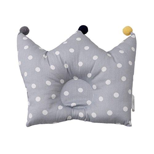 Albeey Babykissen Krone Form Weiche Baumwoll Neugeborenen Kopfkissen (grau)