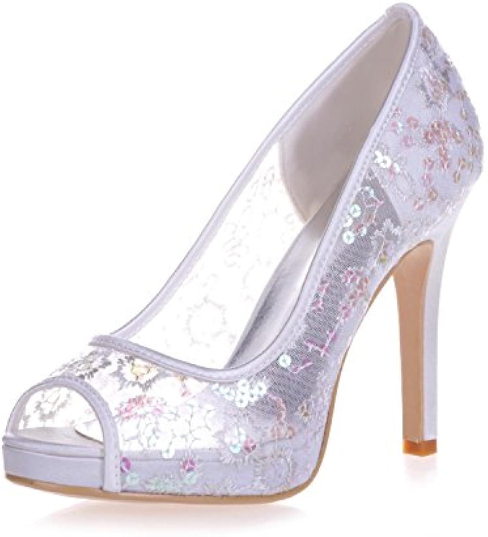 L@YC 6041-06 Scarpe da Cerimonia Corte da Sposa con Tacco Alto E Plateau in Pizzo da Donna | Di Alta Qualità E Low Overhead  | Uomo/Donne Scarpa