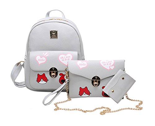 Keshi Pu neuer Stil Schulrucksäcke/Rucksack Damen/Mädchen Vintage Schule Rucksäcke mit Moderner Streifen für Teens Jungen Studenten Grau