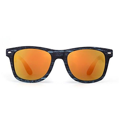 JM Retro Spiegel Sonnenbrille Reflektierend Linsen Federscharnier Tempel Dame Herre(Blau&Schwarz Holz/Orange)