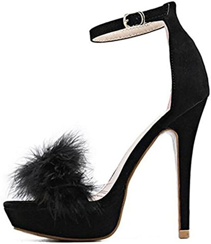 Sandalias Bloque De Tacón para Mujer con Punta Abierta Negro De Encaje hasta Zapatos Noche Fiesta,Black,EU43/UK10 -