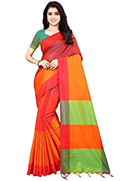 d463dda11e19f Dhruvi Trendz Women s Soft Cotton Silk Solid Saree With Blouse Piece  Material