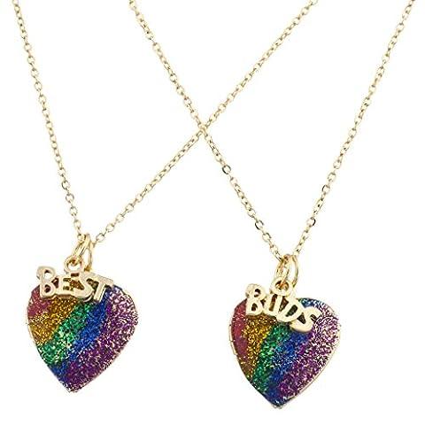LUX Zubehör Gold Ton Regenbogen Glitzer Herz Best Buds BFF Halskette Set 2pc (Tan Perlen Set)