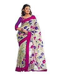 Prafful Cream Silk Saree With Unstitched Blouse Piece