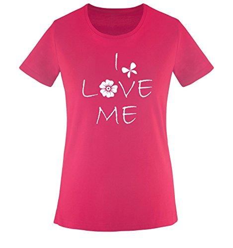 Comedy Shirts - I Love ME - Damen T-Shirt - Sorbet/Weiss Gr. XXL