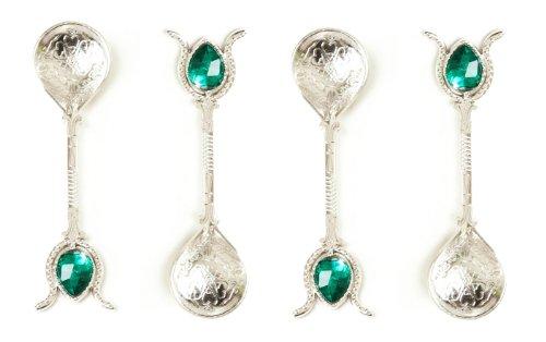 Handgefertigter Kupfer Türkische Ottoman Löffel Geschenk-Set von 4, Tee, Kaffee, Zucker Messung, Servieren Silver Green