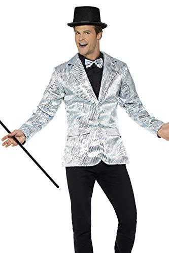 Smiffys Herren Pailletten Jacke, Größe: L, Silber, - Herren Pailletten Weste Kostüm
