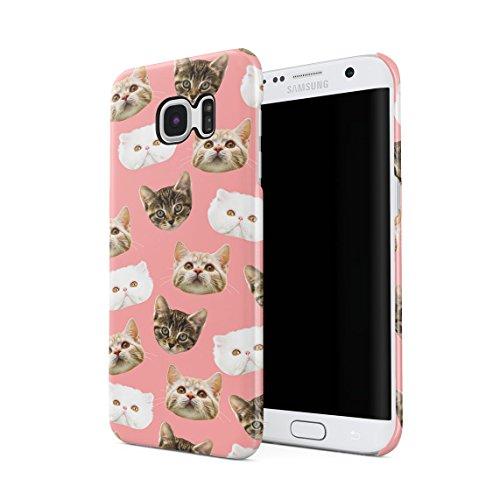 White Luxury, Tabby & Rotkopf Kitty Katze Cute Faces Pattern Dünne Rückschale aus Hartplastik für Samsung Galaxy S7 Edge Handy Hülle Schutzhülle Slim Fit Case cover