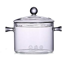 Jannyshop Verre Casserole avec Couvercle, 1.35L résistant à la Chaleur en Verre Stovetop et chaudrons avec Couvercle en Verre à la Main Batterie de Cuisine Table de Cuisson Safe